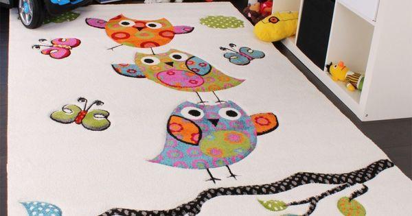 Cute Owl Rug Cream Blue Orange Green, Size: 120x170 cm ...
