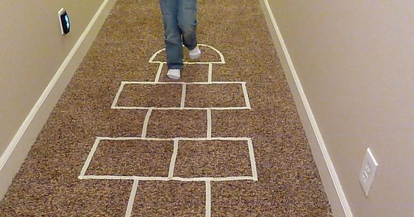 Collection of indoor games for kids using masking tape! Great for a