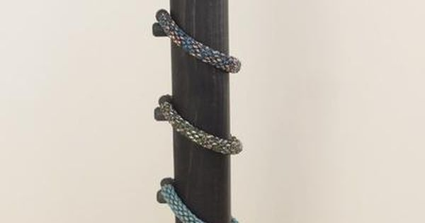 Tall Vertical Wood Bracelet Display For Stacking Multiple