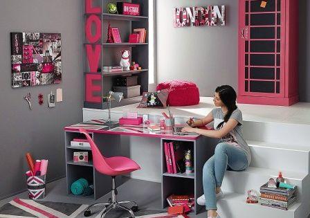 Decorer chambre ado gris et rose deco pas chere pour relooker chambre fille l - Relooker sa chambre a coucher ...