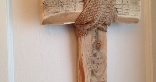 Distressed Rustic Cross Wall Art Hanging Wrapped In Burlap