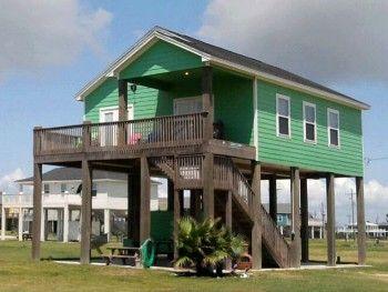 Typical Beach House In Crystal Beach Tx I Miss Our Beach House Beach House Design House On Stilts Beach Bungalows