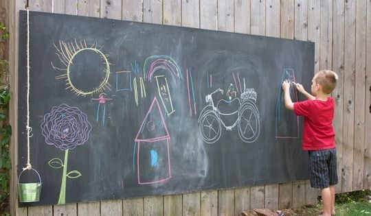 20 backyard play space ideas for kids. Love the outdoor chalk board.