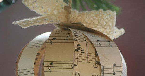 Paper ornament made from vintage music sheets