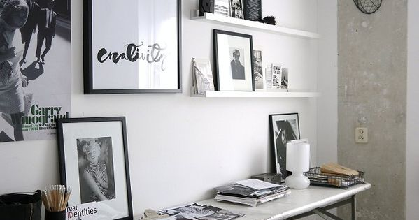 home inspiration: BLACK WHITE WORK SPACES narrow desk
