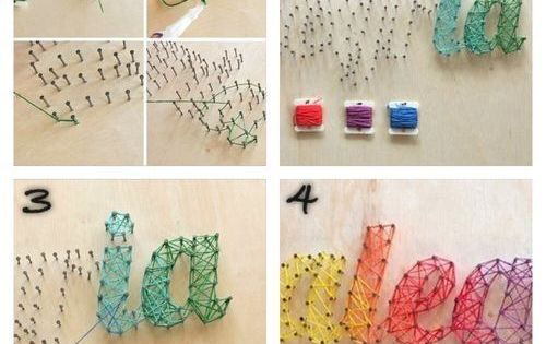 nail & string art with rainbow colors for letters