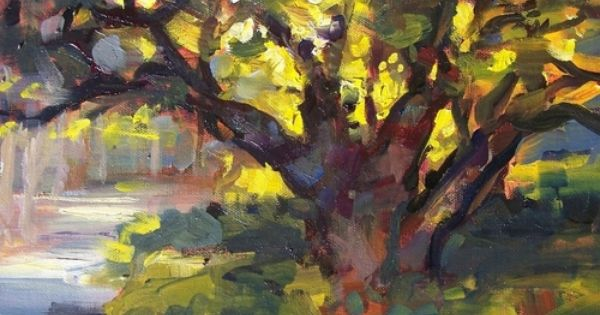 Sunset Oak By Rick Reinert 9x12 Olive Tree Painting Art