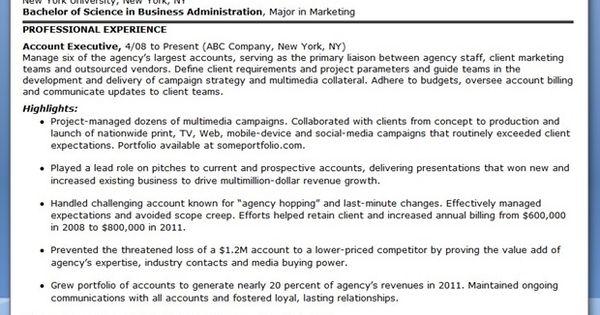 Sample Resume Account Executive Advertising jobs Pinterest