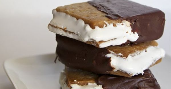Frozen smores bars -- made from homemade graham crackers and homemade marshmallow