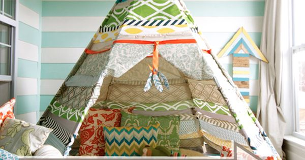 No sew teepee, great for a reading nook or pretend play