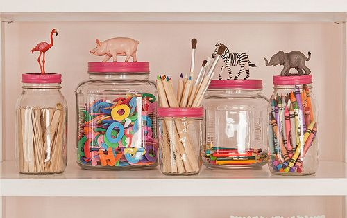 Girl's Bedroom Shelves Styling - love the storage jars.