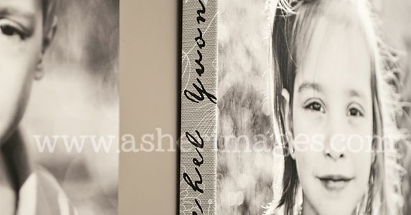 Child's name on all sides of photo's canvas