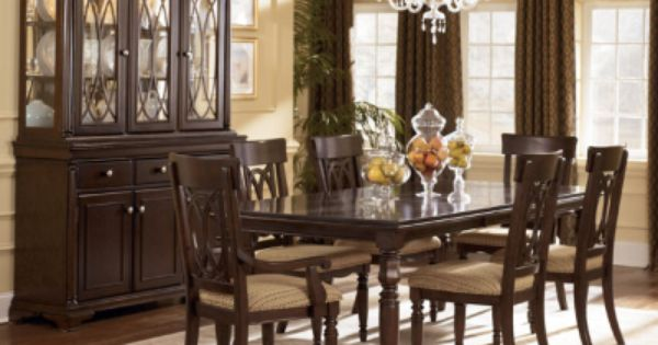 THE FURNITURE Dark Brown Finished Dining Room Set With