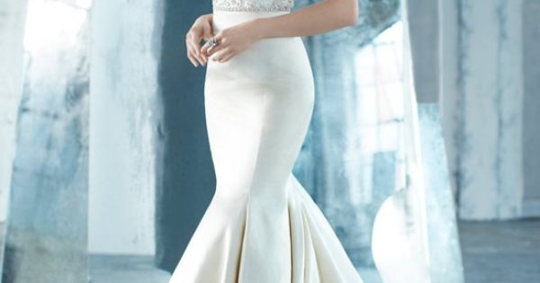 Silk Faced Satin Trumpet Bridal Gown, Sheer Jewel