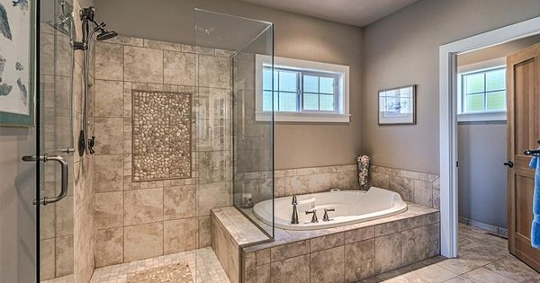 Gorgeous Master Bath Extra Large Walk In Shower Glass Door Jetted Tub And Radiant Heated