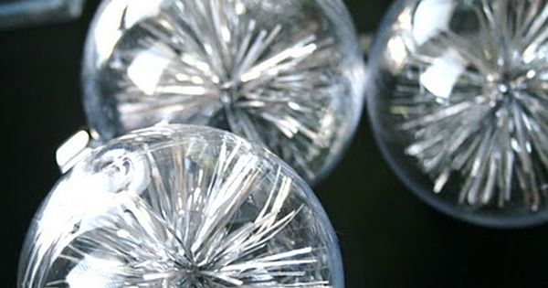 Made from extra tinsel and clear ornament balls. Great idea, & so