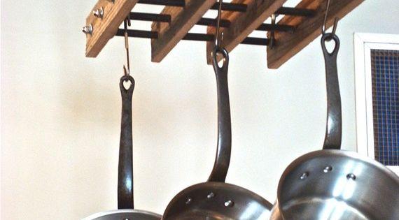 Pot rack reclaimed wood pot rack home beautiful and for Reclaimed wood pot rack