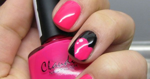 All solid pink one black pink heart nails