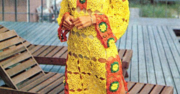 Crochet Granny Square Tunic Pattern : Vintage Crochet Pattern Flower Granny Squares Caftan Bell ...