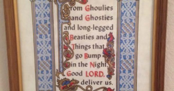 vintage framed under glass ancient scottish prayer