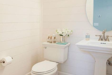 2perfection Decor Basement Coastal Bathroom Reveal: Shiplap Powder Room With Light Wood Floors, Cottage