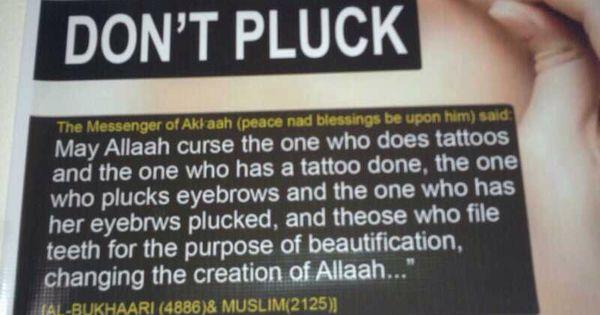 Hadith on plucking eyebrows , tattoos , filing teeth #