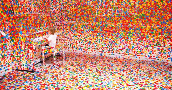 White room + coloured stickers + kids = gorgeous! Queensland Gallery of