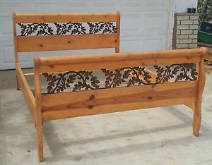 Queen Size Oak Sleigh Bed Frame Maple Leaf Design Sleigh Bed