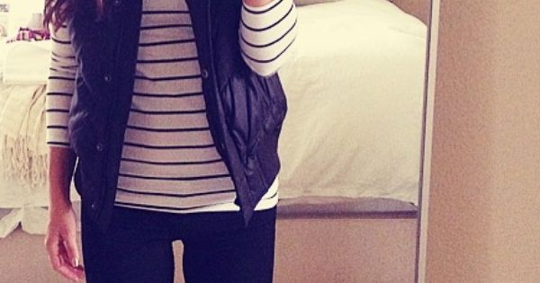 Rainy day outfit: H stripe tee, Gap vest, Ginette_ny necklace, Urban Outfitter