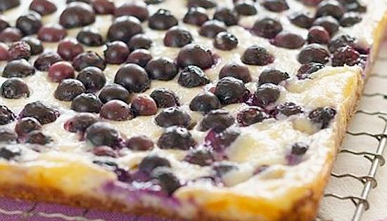 Coconut-Blueberry Cheesecake Bars ~ Creamy cheesecake, sweet coconut, and tart blueberries? Yum!