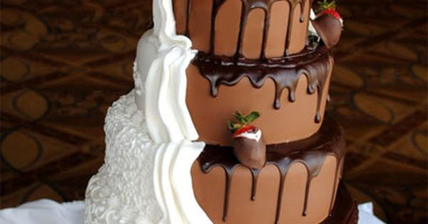 His & Hers wedding cake. Chocolate/vanilla wedding cake. Groom cake ideas. Fun!
