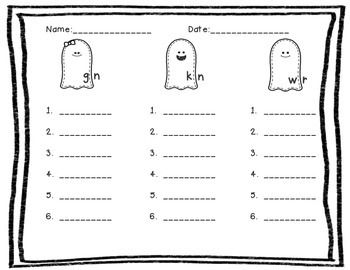 Silent Letter Digraphs : gn, wr, kn (Ghost Buddies) ***FREE ...