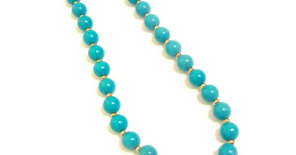 Turquoise / Aqua Blue Beaded Necklace It reminds me Cinderella's necklace!