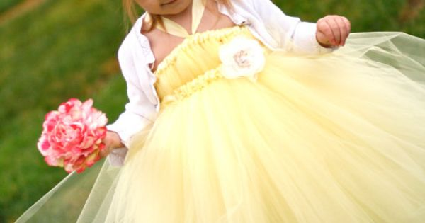 Sweet Yellow Tutu Dress for Flower Girls by littledreamersinc, $60.00