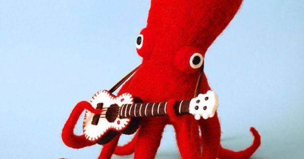 Red Octopus & His White Guitar by Hiné Mizushima