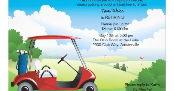 Golf Cart Retirement Invitation. $2.00 | Retirement Party ...