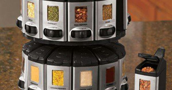 Auto measure spice rack organization pinterest spice for Carousel spice racks for kitchen cabinets