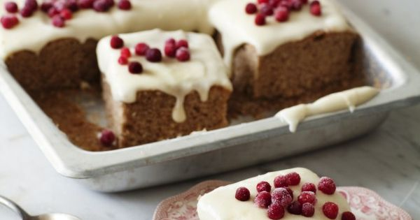 soft gingerbread cake with lingonberry frosting recipe