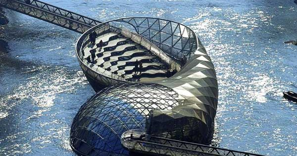 Graz, Austria. floating coffee shop. The Mur River, dividing the city of