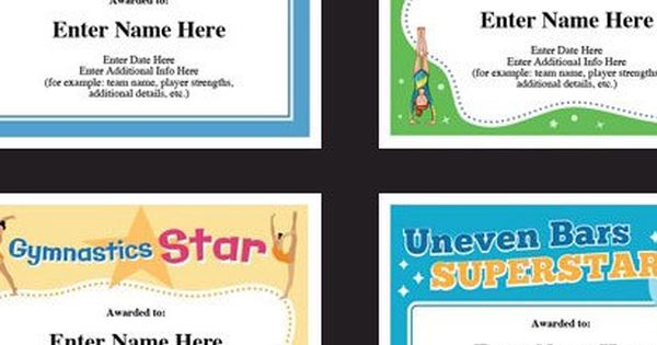 Gymnastics certificate pack, kids certificate, Gymnast award - name a star certificate template
