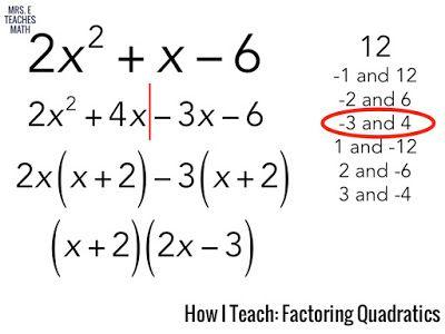 How I Teach Factoring Quadratics Factoring Quadratics Quadratics Teaching
