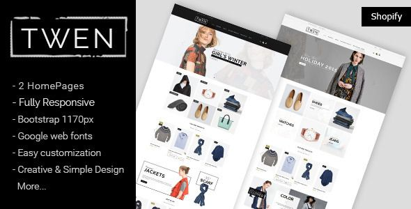 Download Free Twen Responsive Fashion Shopify Theme Bootstrap C Shopify Theme Fashion Themes Website Template Design