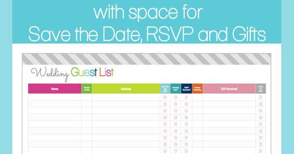 Wedding Gift List Checklist: FREE Printable Wedding Guest List And Checklist By Clean