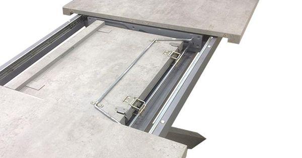Table beton de salle manger effet b ton et pied inox bross klow tables et ps - Table a manger effet beton ...