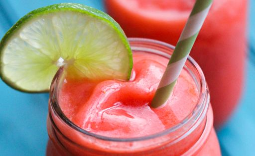 Boozy Strawberry Limeade. I make this during the hot summer months. Always