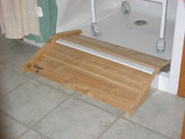Roll In Shower Stall The Lip Of A Step In Stall Is Converted Into A Roll In Shower With A Handicap Bathroom Accessible Bathroom Design Accessible Bathroom