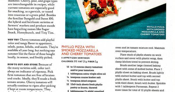 Appetit: Phyllo Pizza With Smoked Mozzarella & Cherry Tomatoes | Pizza ...