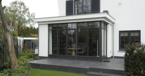 Aluminium kozijnen dreumel uitbouw keuken pinterest grijs huizen en ramen for Deco buitenkant terras