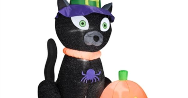 Airblown Witchy Black Cat Available At These Retailers Lowes, Lowes - lowes halloween inflatables