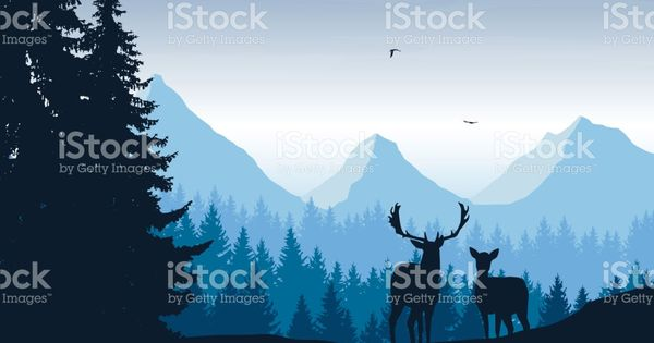 Realistic Vector Illustration Of Mountain Landscape With Forest Deer Nature Vector Mountain Landscape Vector Illustration
